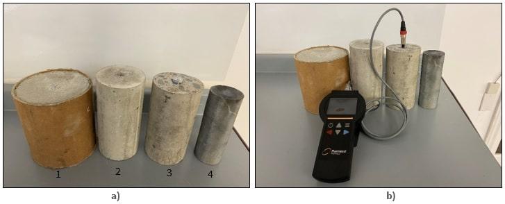 Four samples of concrete