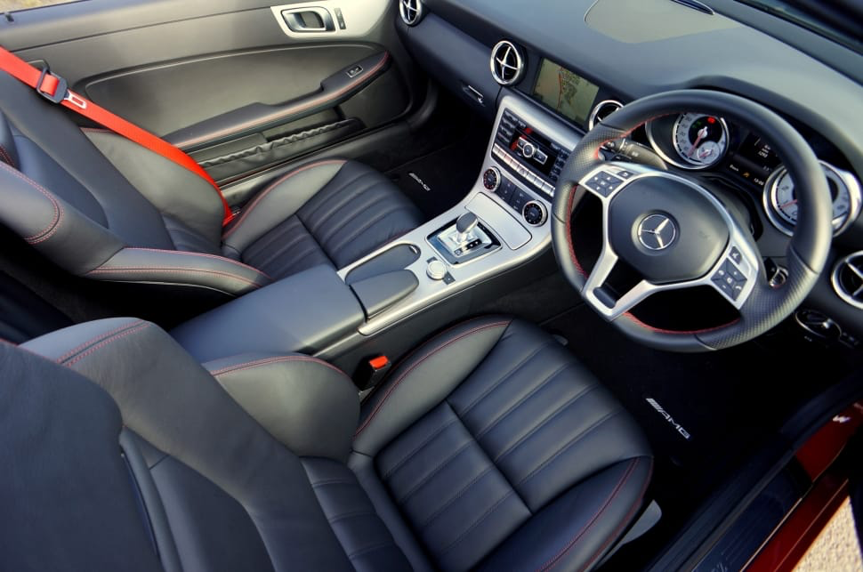 Interior view of a luxury car