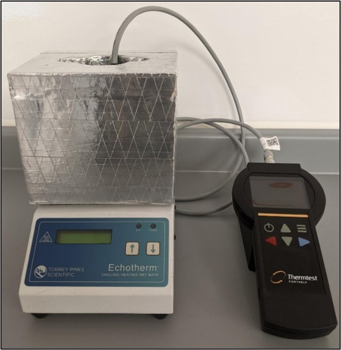 DIUF water with dry bath, Thermtest THW-L3 sensor, and MP-2