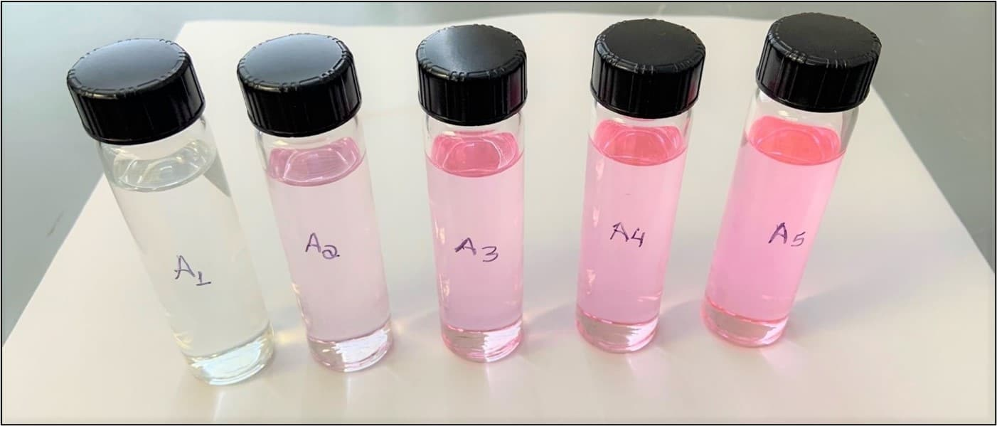 Samples of SR-1 fluid in varying concentrations