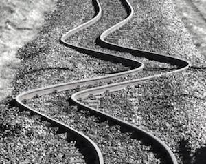 railroad tracks bent due to linear thermal expansion