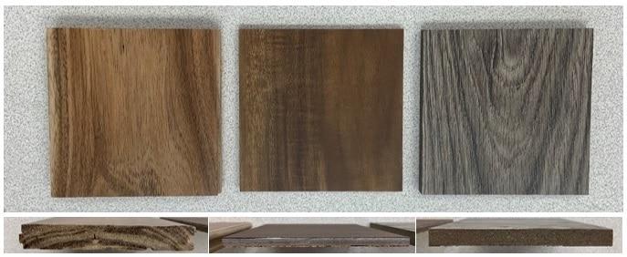 Three flooring samples for effusivity testing