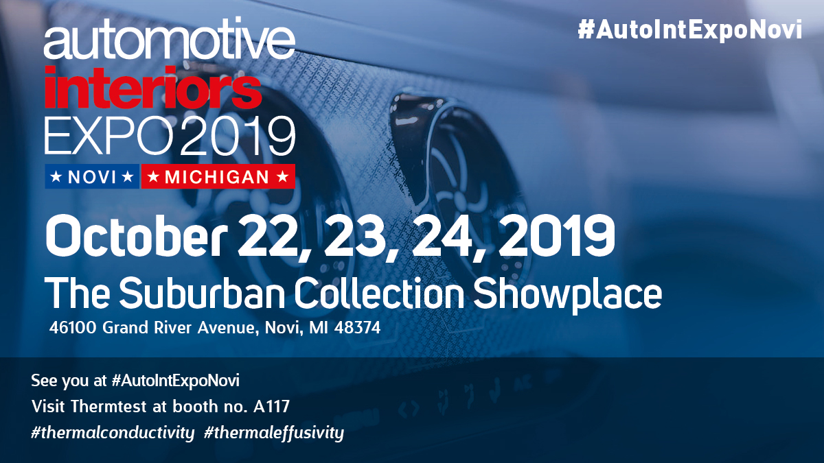 Announcement: Thermtest will be joining the Automotive Interiors Expo 2019