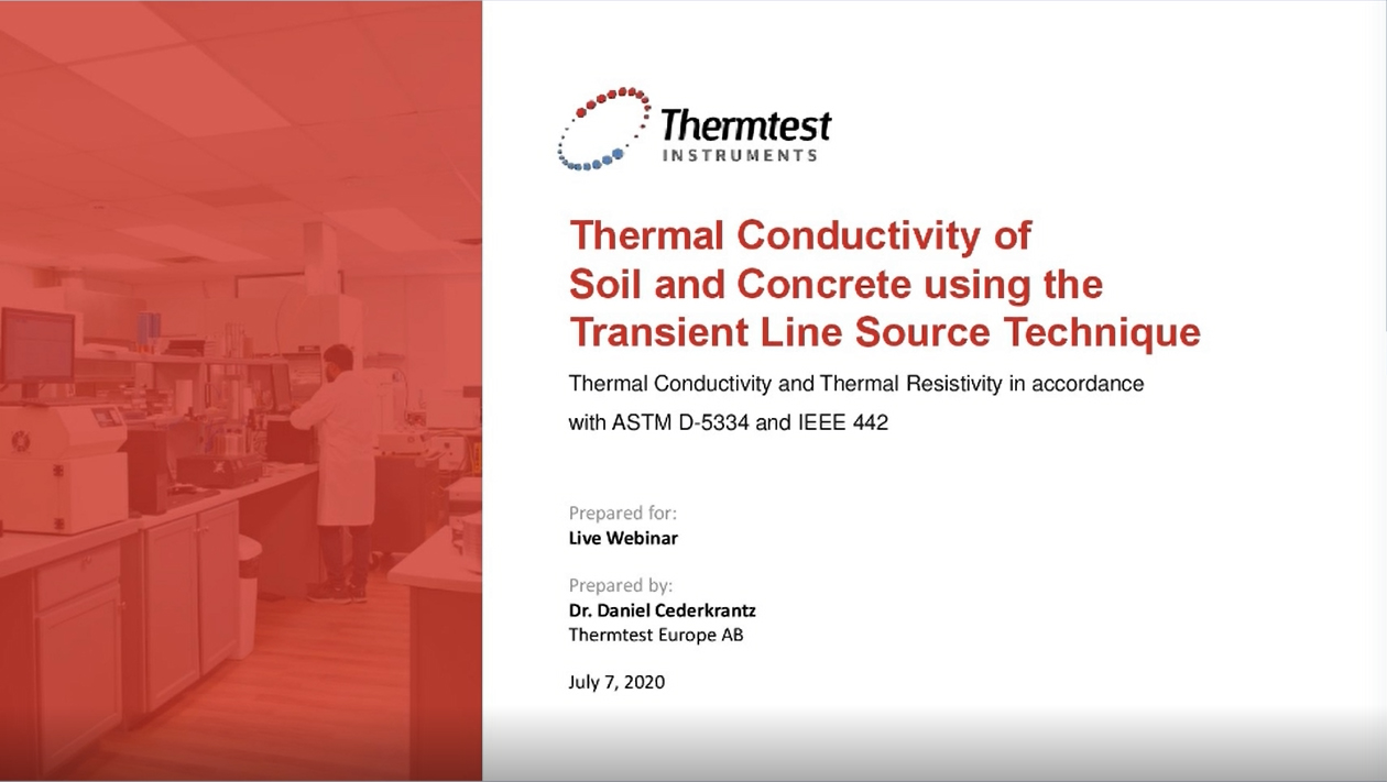 Thermal Conductivity of Soil and Concrete using the Transient Line Source Technique